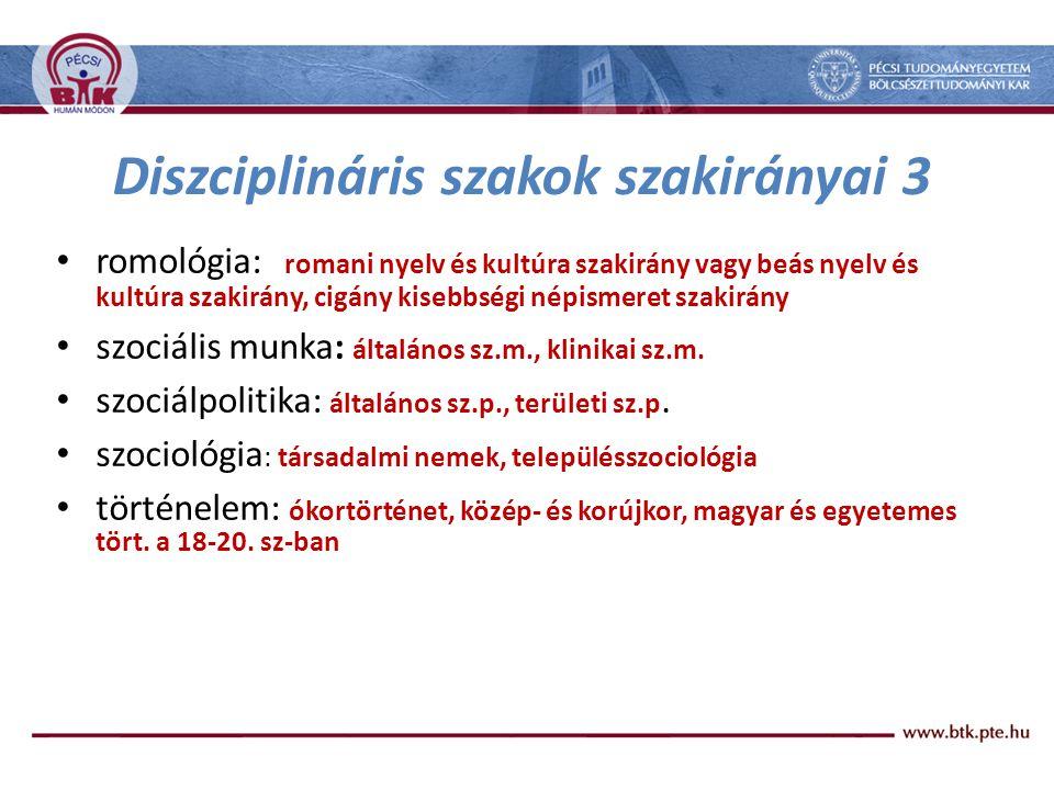 Diszciplináris szakok szakirányai 3