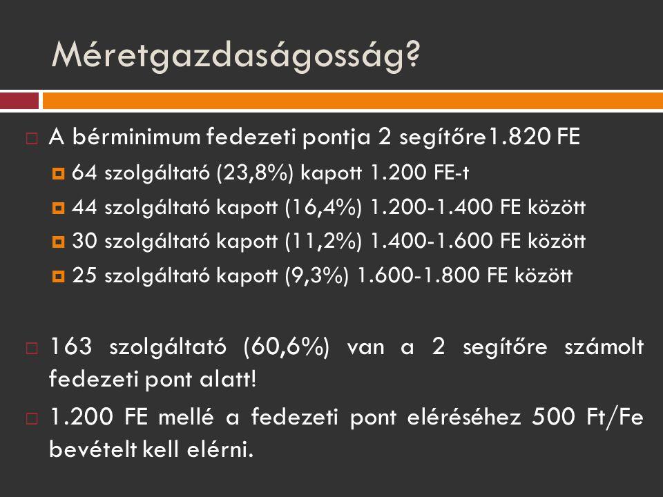 Méretgazdaságosság A bérminimum fedezeti pontja 2 segítőre1.820 FE