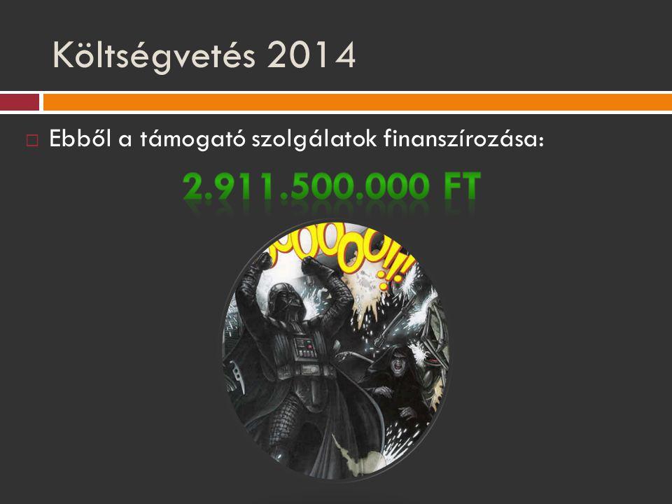 Költségvetés 2014 Ebből a támogató szolgálatok finanszírozása: 2.911.500.000 Ft