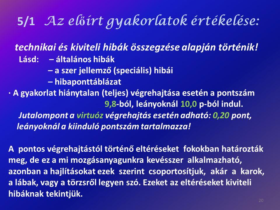 5/1 Az előírt gyakorlatok értékelése:
