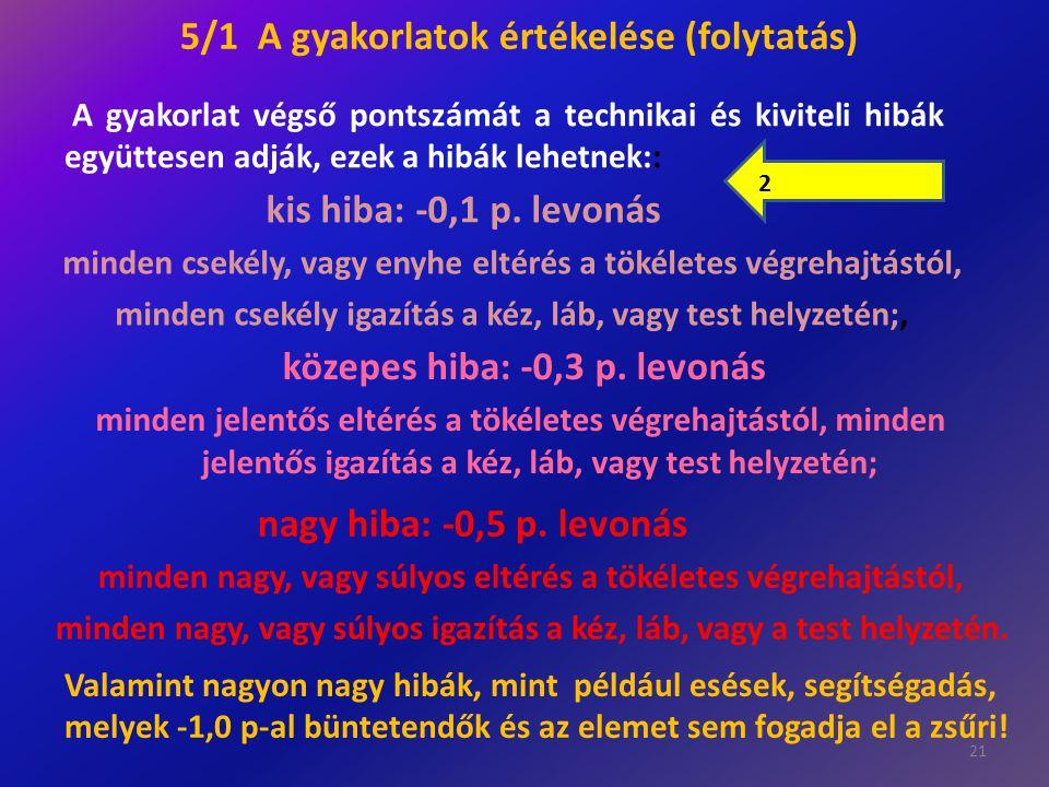 5/1 A gyakorlatok értékelése (folytatás)
