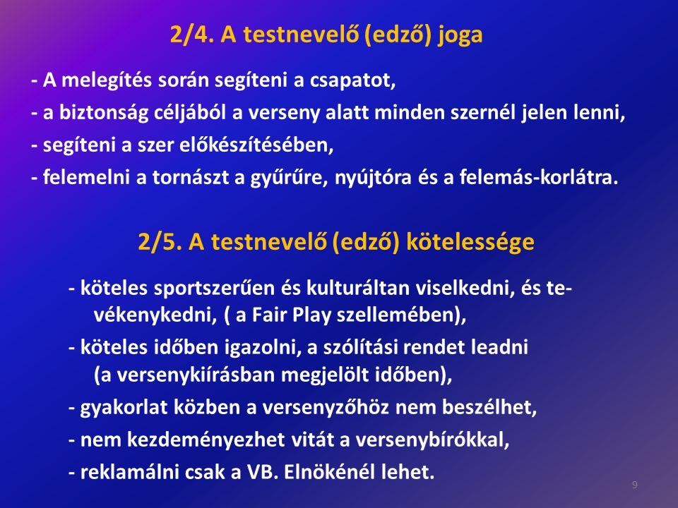 2/4. A testnevelő (edző) joga