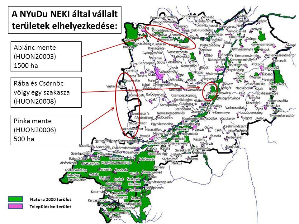 A NYuDu NEKI által vállalt területek elhelyezkedése: