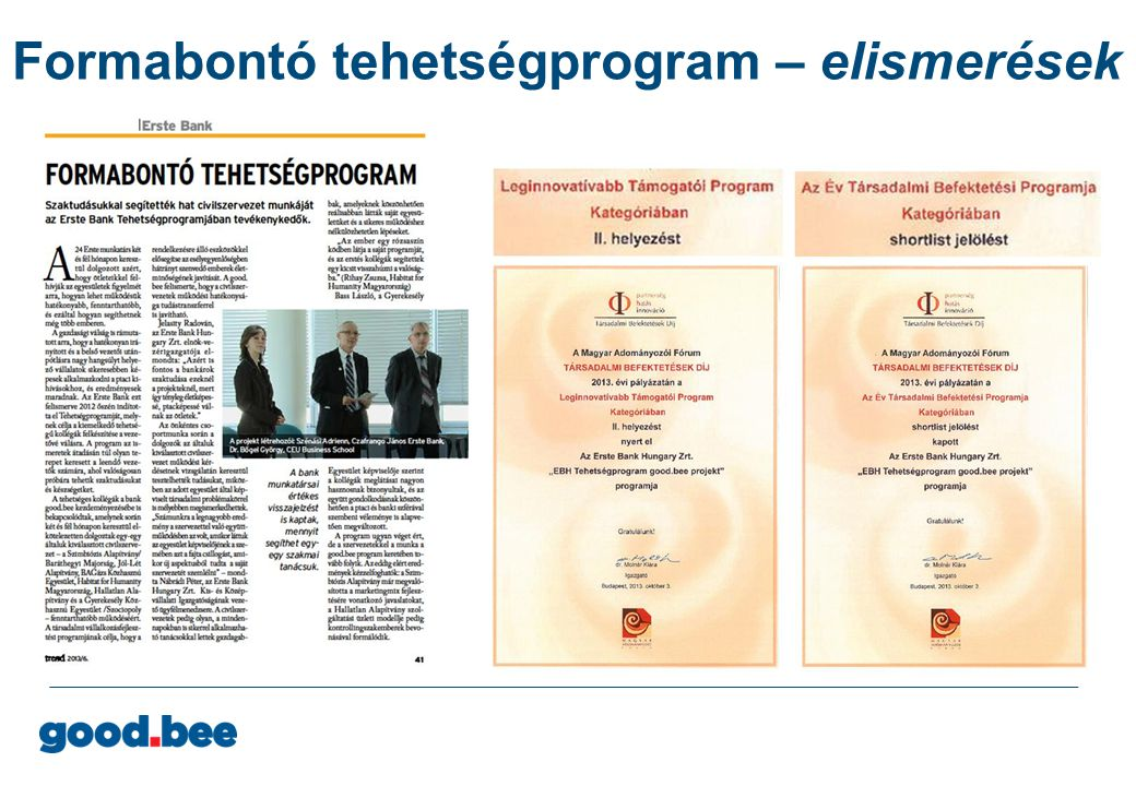 Formabontó tehetségprogram – elismerések