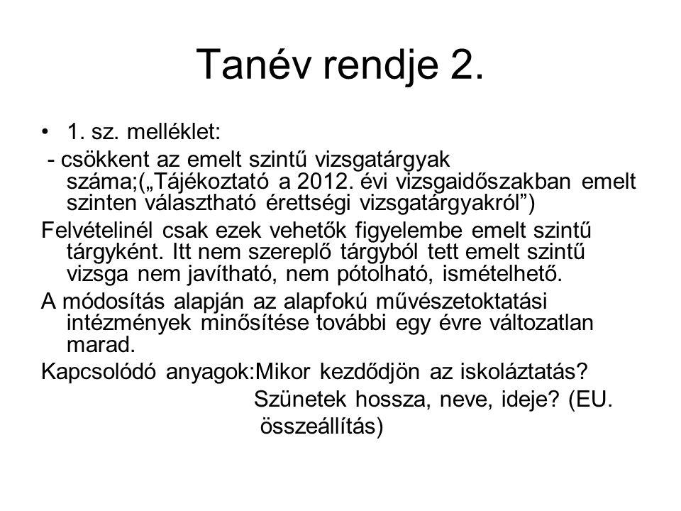 Tanév rendje 2. 1. sz. melléklet: