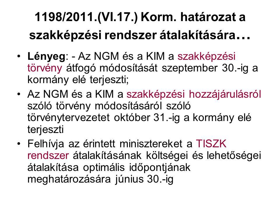 1198/2011.(VI.17.) Korm. határozat a szakképzési rendszer átalakítására…
