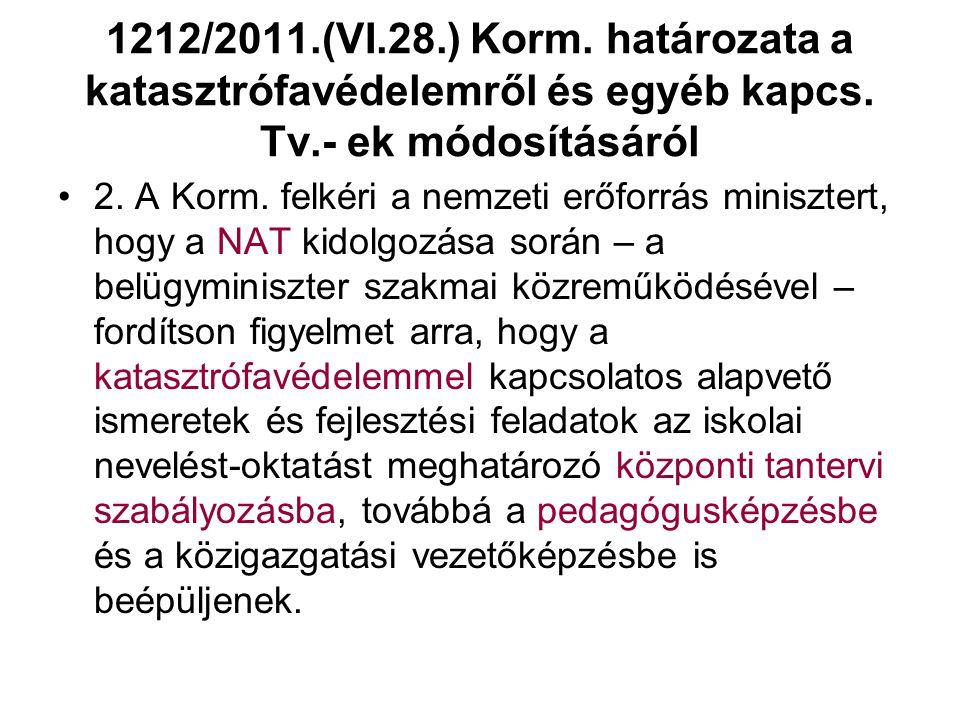 1212/2011.(VI.28.) Korm. határozata a katasztrófavédelemről és egyéb kapcs. Tv.- ek módosításáról