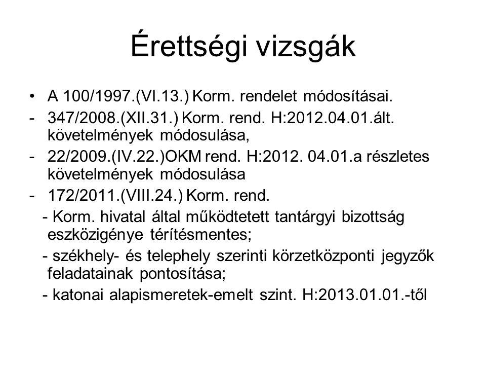 Érettségi vizsgák A 100/1997.(VI.13.) Korm. rendelet módosításai.