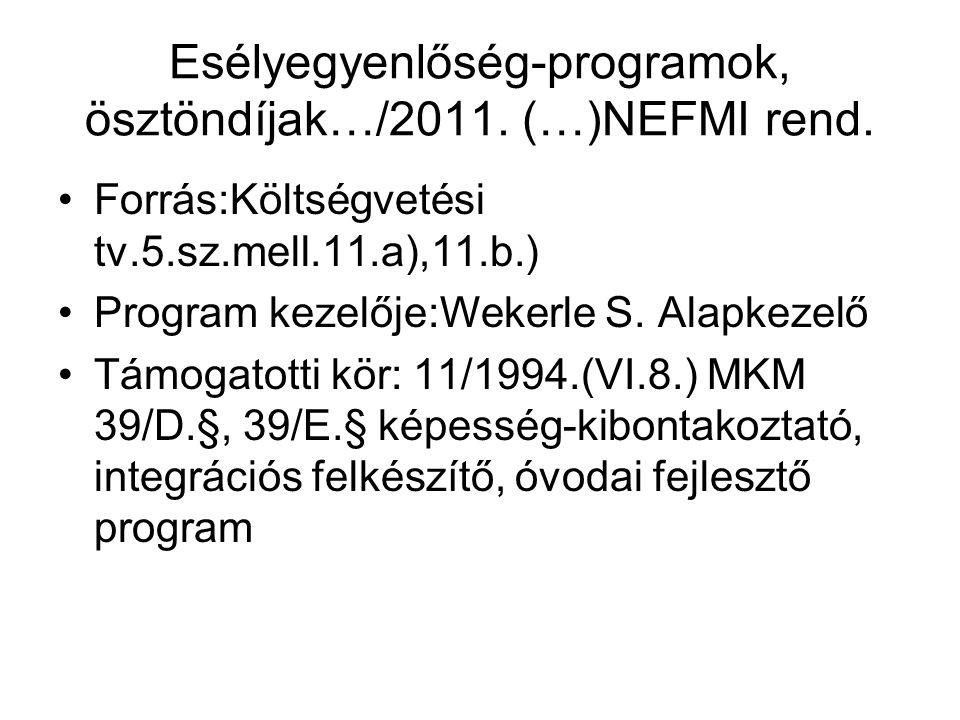Esélyegyenlőség-programok, ösztöndíjak…/2011. (…)NEFMI rend.