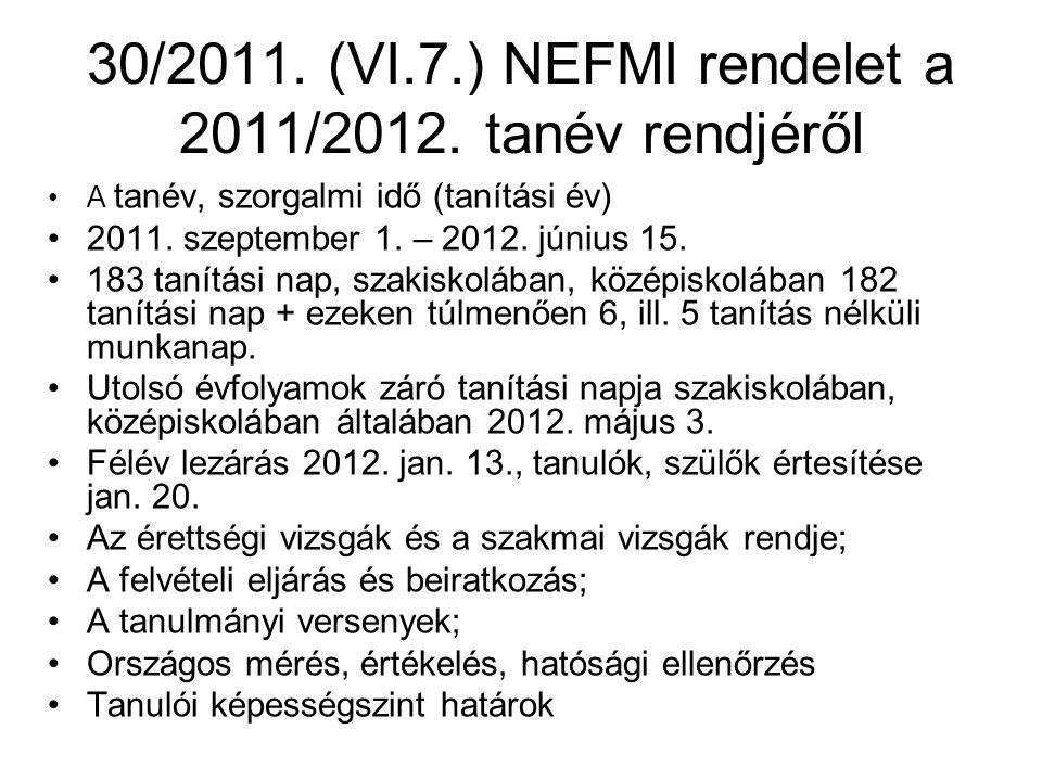 30/2011. (VI.7.) NEFMI rendelet a 2011/2012. tanév rendjéről