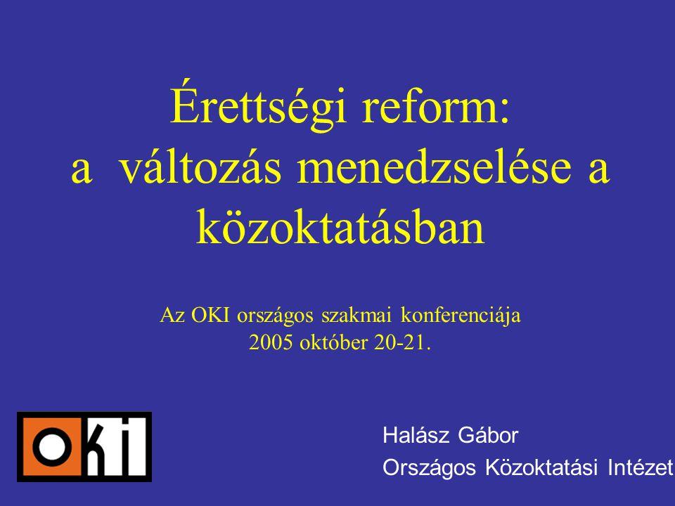 Érettségi reform: a változás menedzselése a közoktatásban Az OKI országos szakmai konferenciája 2005 október 20-21.