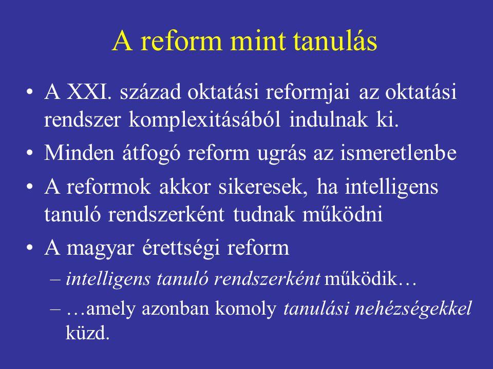 A reform mint tanulás A XXI. század oktatási reformjai az oktatási rendszer komplexitásából indulnak ki.