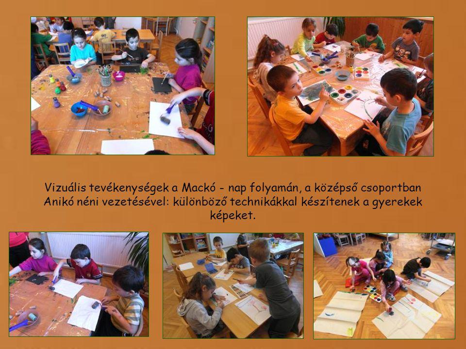 Vizuális tevékenységek a Mackó - nap folyamán, a középső csoportban Anikó néni vezetésével: különböző technikákkal készítenek a gyerekek képeket.