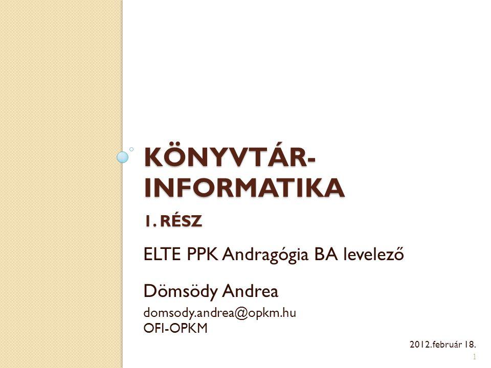 Könyvtár-informatika 1. rész