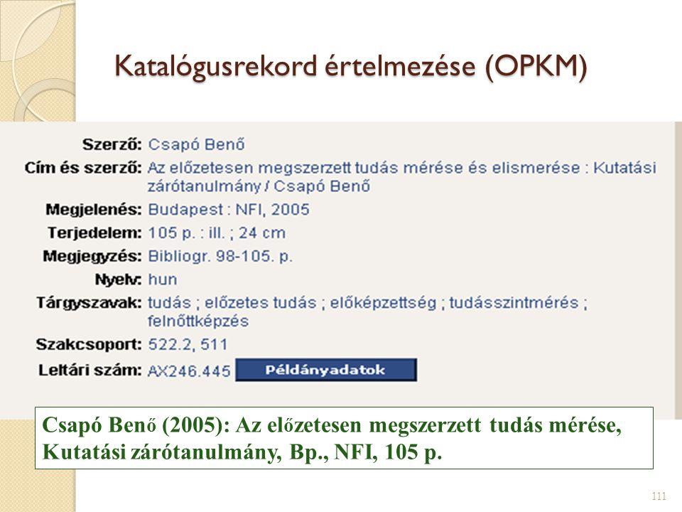 Katalógusrekord értelmezése (OPKM)