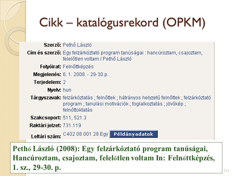 Cikk – katalógusrekord (OPKM)