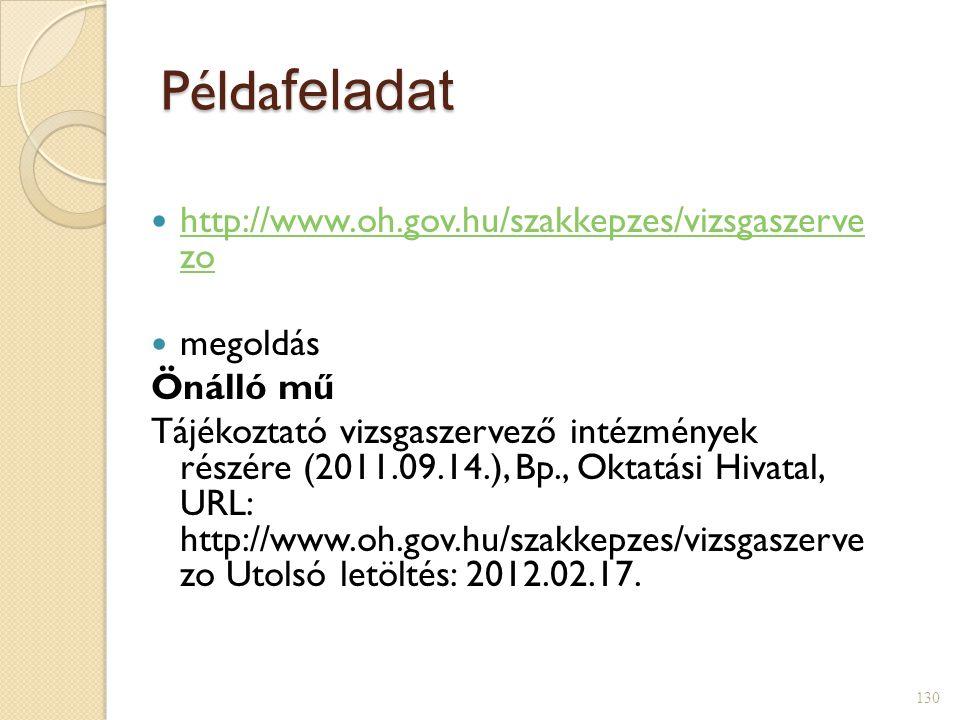 Példafeladat http://www.oh.gov.hu/szakkepzes/vizsgaszerve zo megoldás