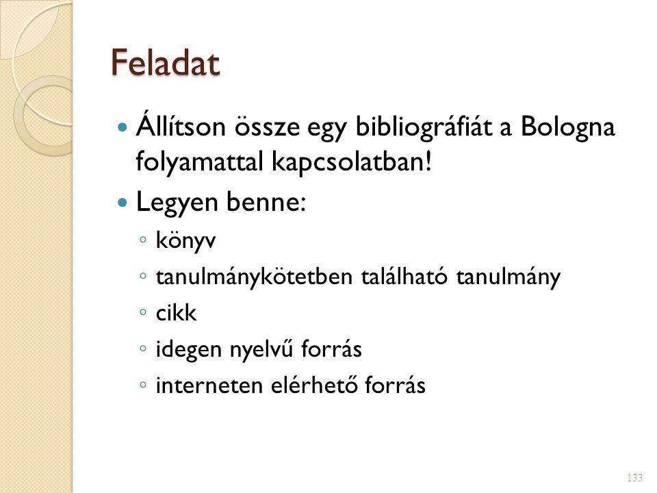 Feladat Állítson össze egy bibliográfiát a Bologna folyamattal kapcsolatban! Legyen benne: könyv.