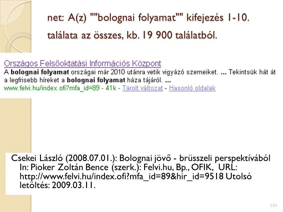 net: A(z) bolognai folyamat kifejezés 1-10. találata az összes, kb