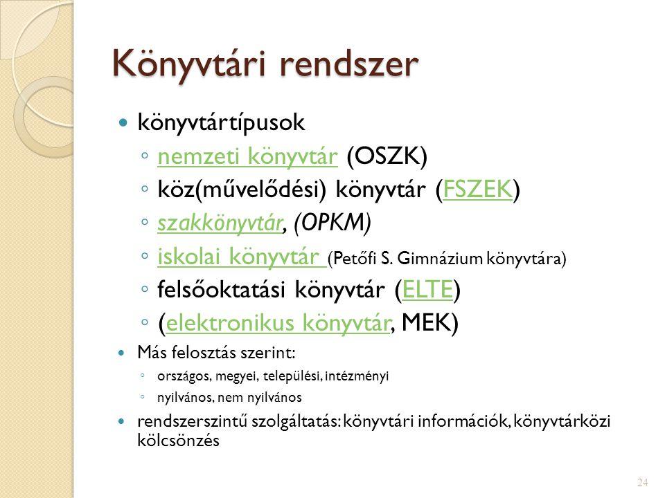Könyvtári rendszer könyvtártípusok nemzeti könyvtár (OSZK)