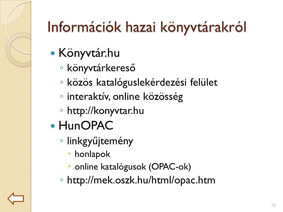 Információk hazai könyvtárakról