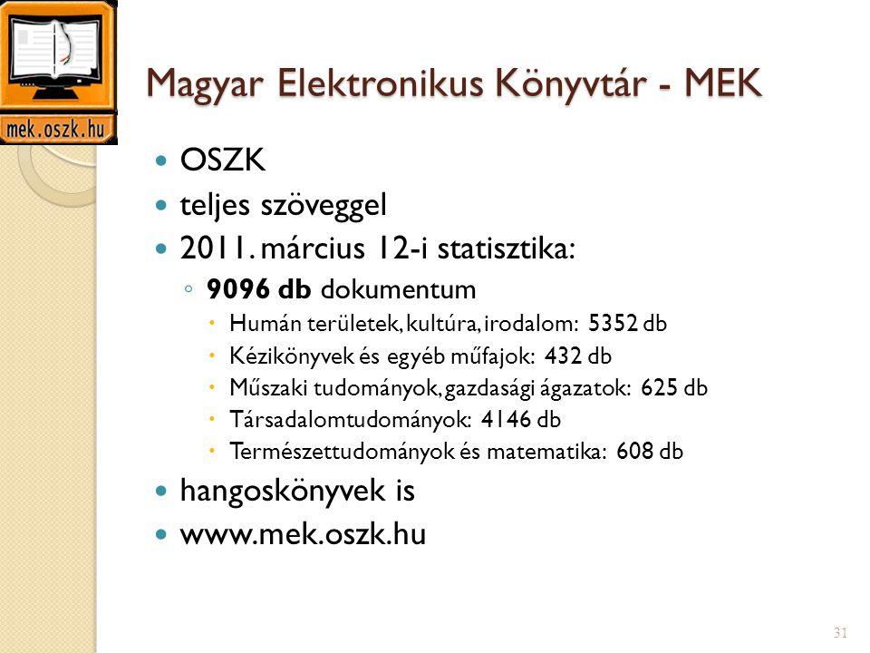 Magyar Elektronikus Könyvtár - MEK