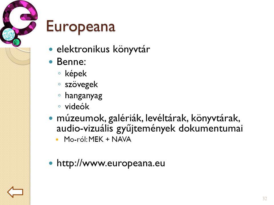 Europeana elektronikus könyvtár Benne: