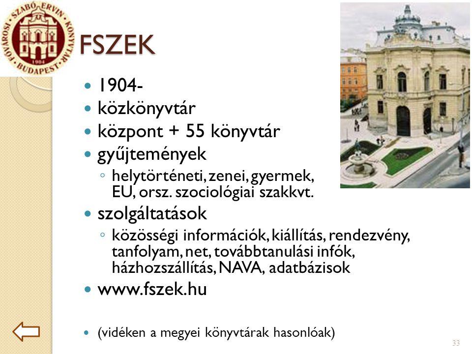 FSZEK 1904- közkönyvtár központ + 55 könyvtár gyűjtemények