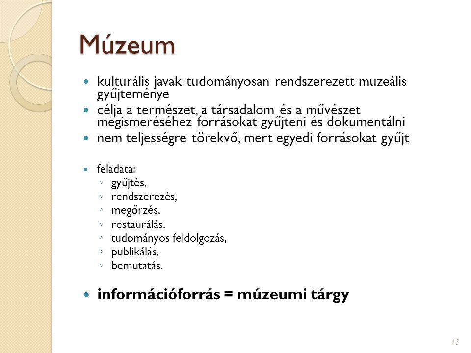 Múzeum információforrás = múzeumi tárgy