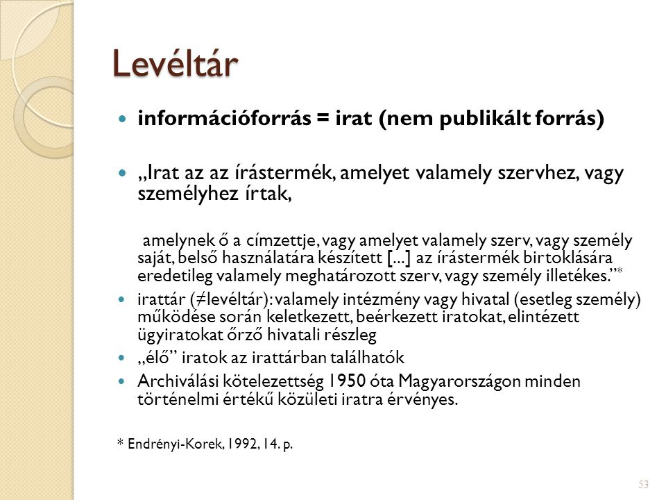 Levéltár információforrás = irat (nem publikált forrás)