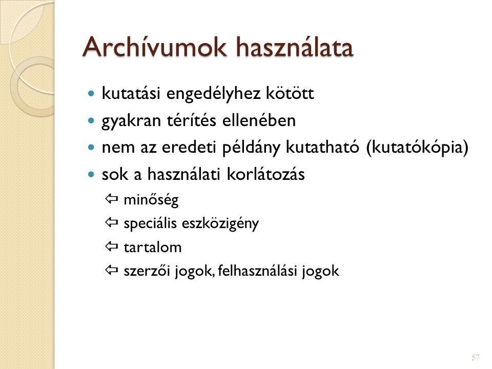 Archívumok használata