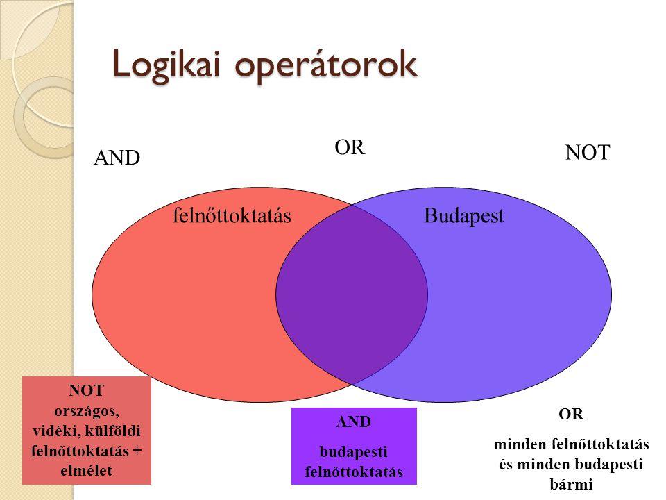 Logikai operátorok OR NOT AND felnőttoktatás Budapest