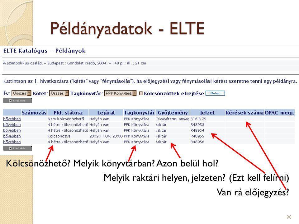 Példányadatok - ELTE Kölcsönözhető. Melyik könyvtárban.