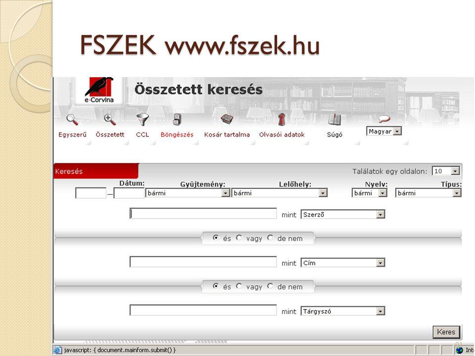 FSZEK www.fszek.hu