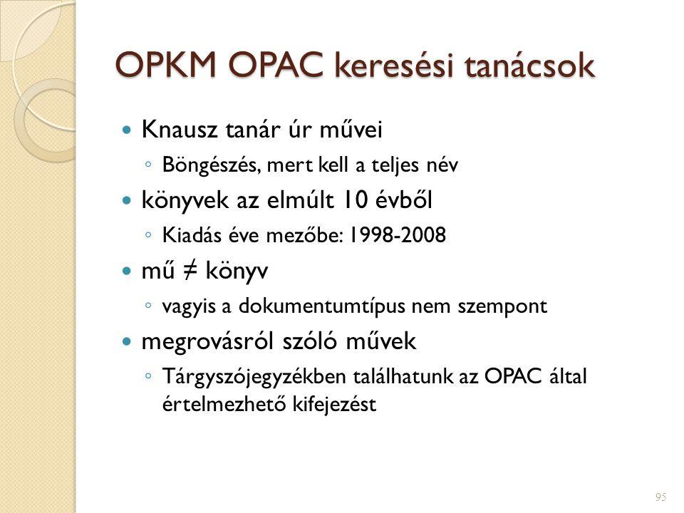 OPKM OPAC keresési tanácsok