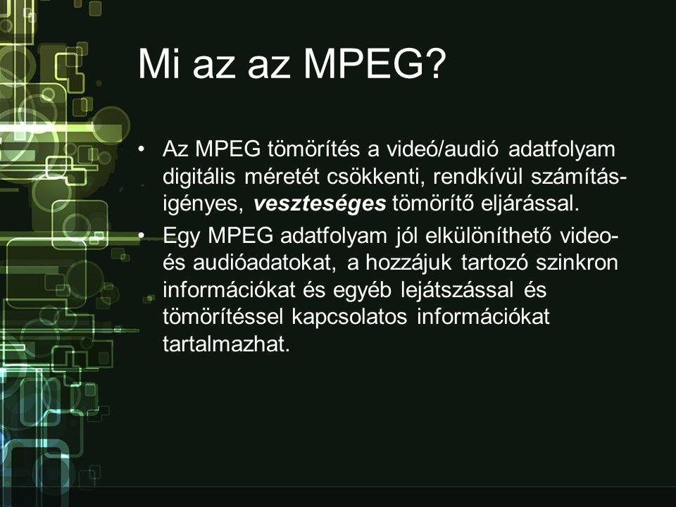Mi az az MPEG Az MPEG tömörítés a videó/audió adatfolyam digitális méretét csökkenti, rendkívül számításigényes, veszteséges tömörítő eljárással.