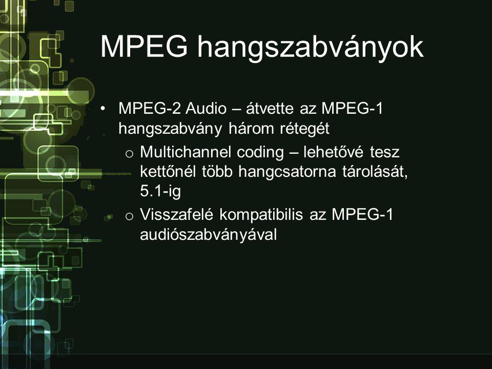 MPEG hangszabványok MPEG-2 Audio – átvette az MPEG-1 hangszabvány három rétegét.