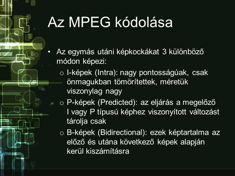 Az MPEG kódolása Az egymás utáni képkockákat 3 különböző módon képezi: