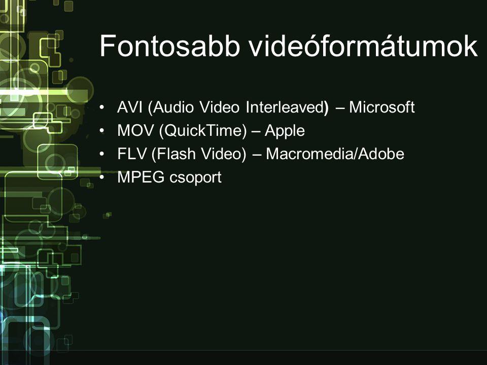 Fontosabb videóformátumok