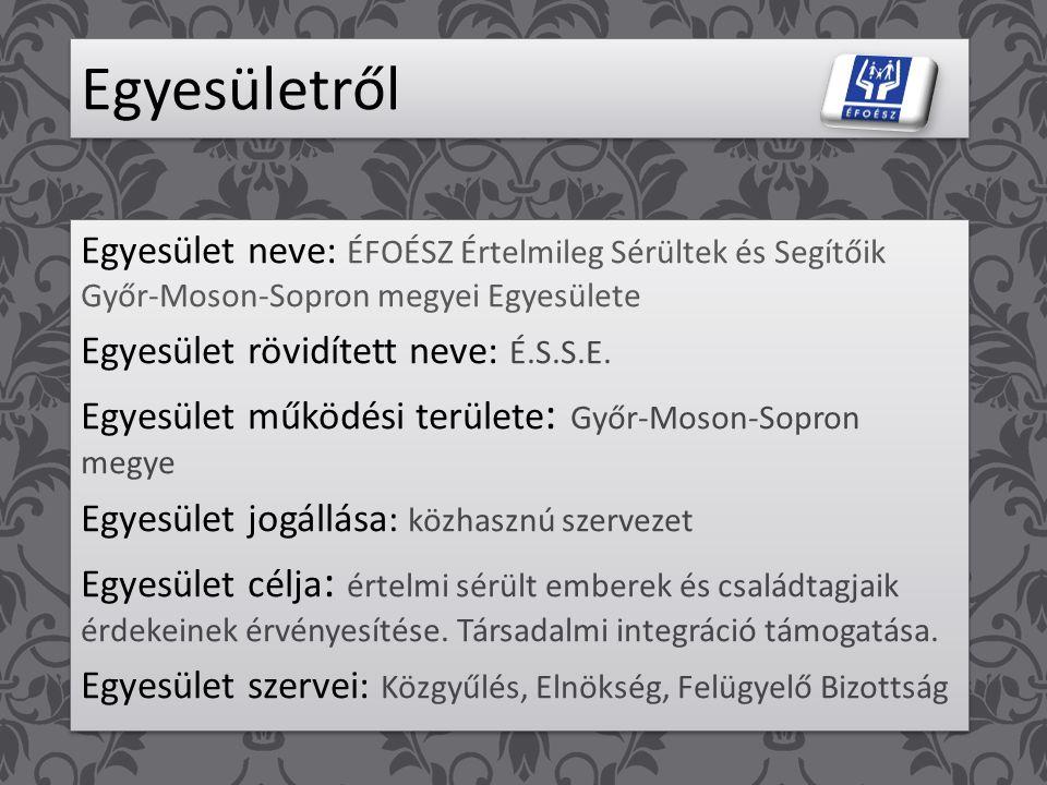 Egyesületről Egyesület neve: ÉFOÉSZ Értelmileg Sérültek és Segítőik Győr-Moson-Sopron megyei Egyesülete.