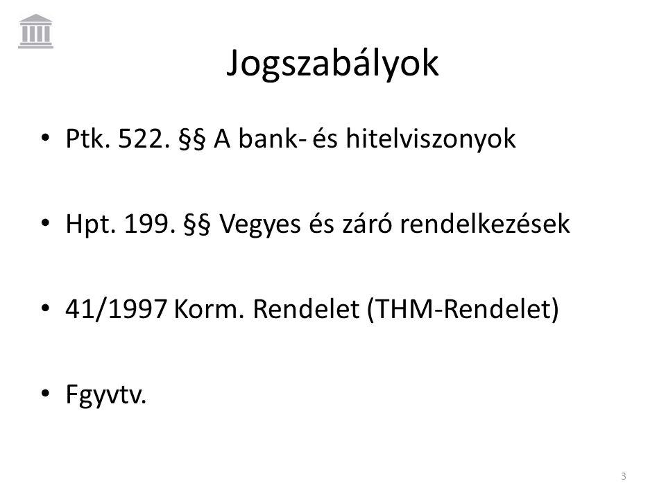Jogszabályok Ptk. 522. §§ A bank- és hitelviszonyok