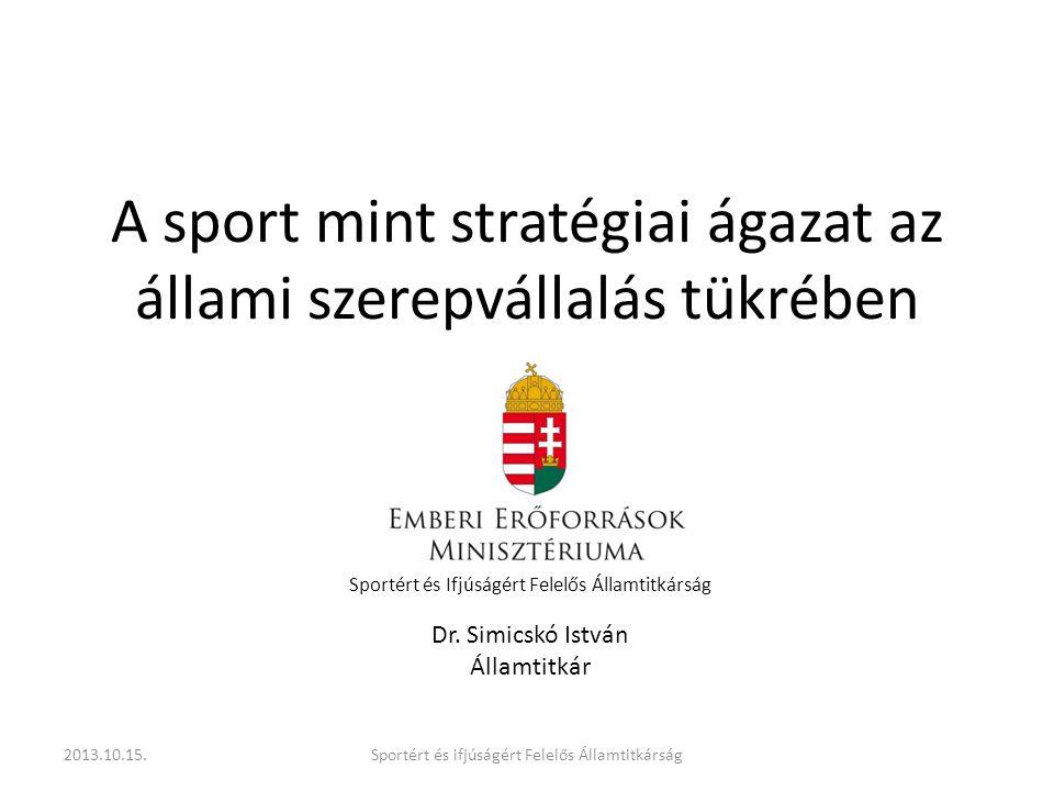 A sport mint stratégiai ágazat az állami szerepvállalás tükrében