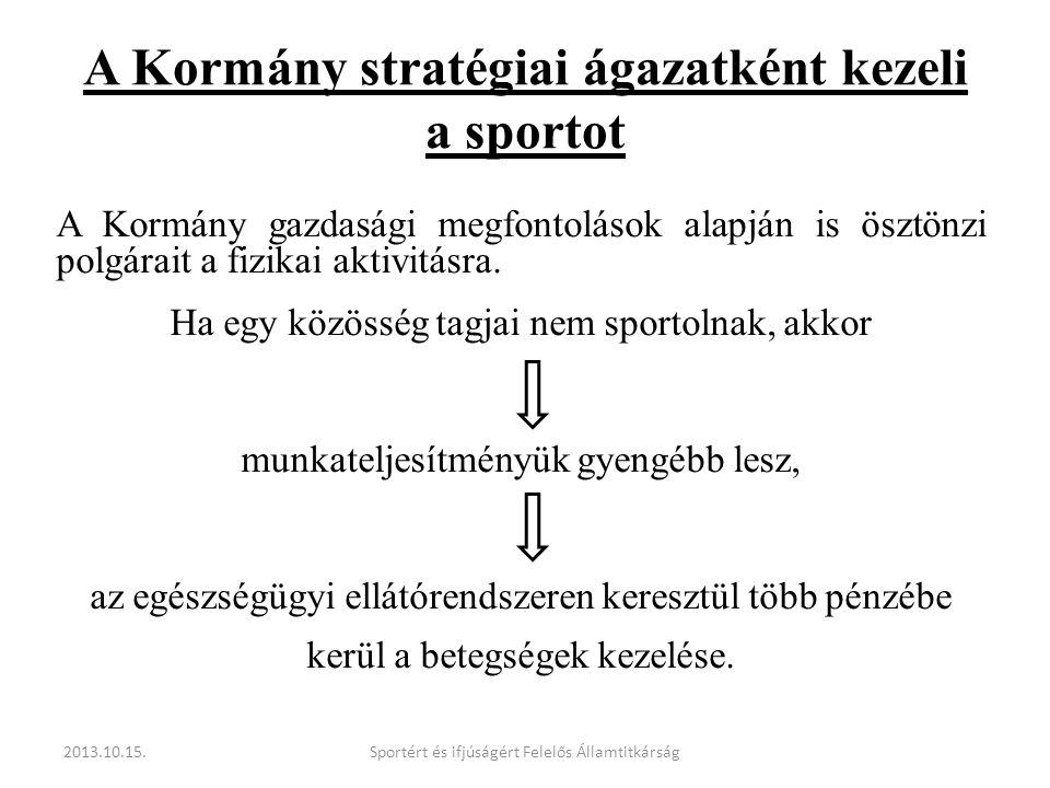 A Kormány stratégiai ágazatként kezeli a sportot