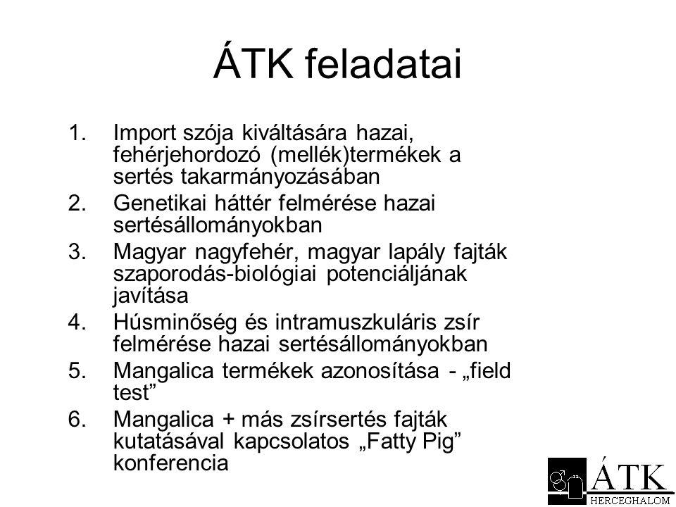 ÁTK feladatai Import szója kiváltására hazai, fehérjehordozó (mellék)termékek a sertés takarmányozásában.