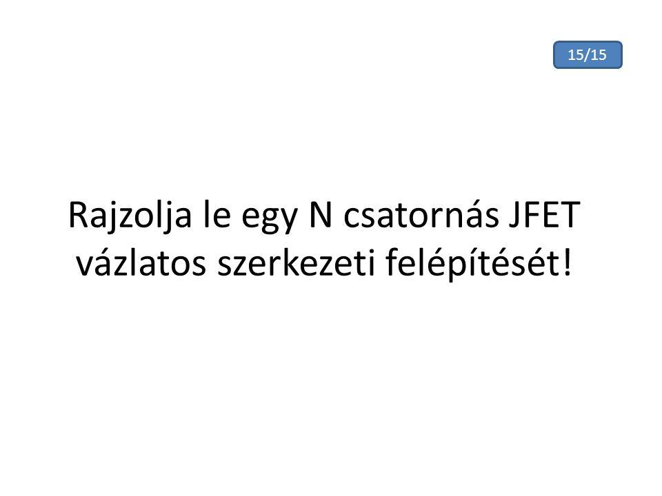 Rajzolja le egy N csatornás JFET vázlatos szerkezeti felépítését!