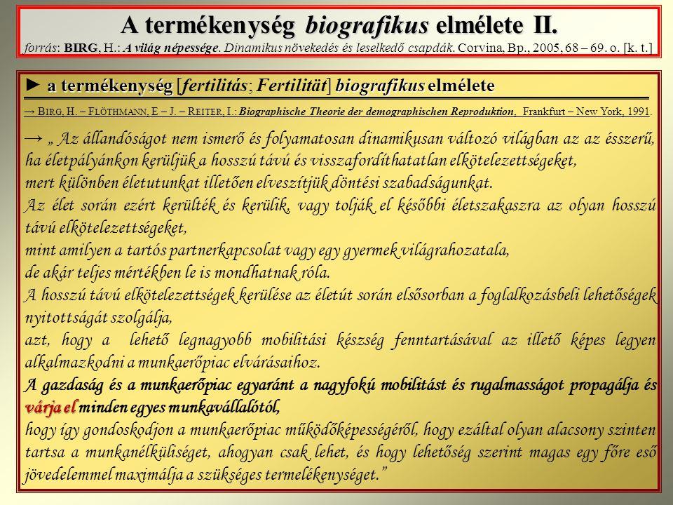 A termékenység biografikus elmélete II. forrás: BIRG, H