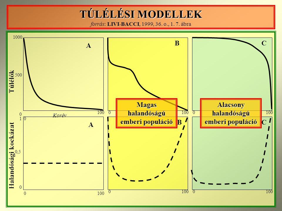 TÚLÉLÉSI MODELLEK forrás: LIVI-BACCI, 1999, 36. o., 1. 7. ábra