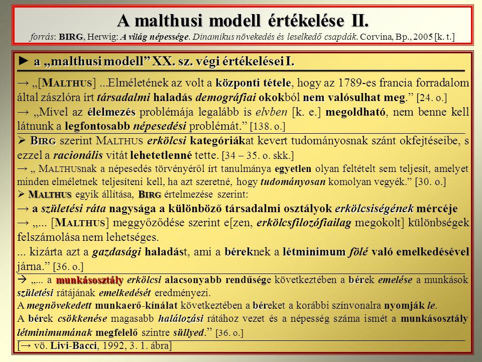 A malthusi modell értékelése II
