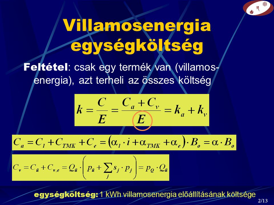 Villamosenergia egységköltség