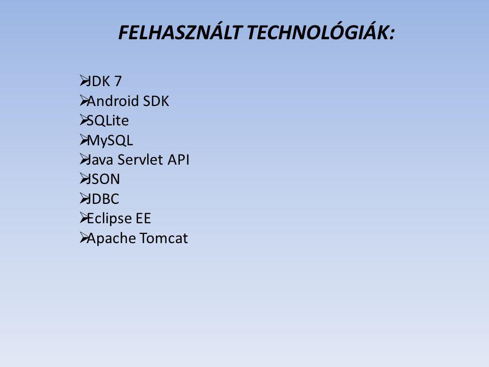 FELHASZNÁLT TECHNOLÓGIÁK:
